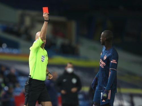 Arsenal's Nicolas Pepe was sent off at Leeds (Molly Darlington/PA)