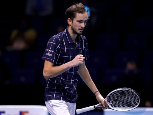 Daniil Medvedev clenches his fist during his victory over Dominic Thiem (John Walton/PA)