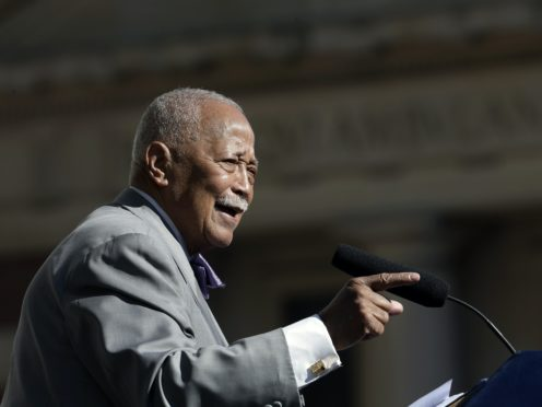 Former New York City mayor David Dinkins speaks during a ceremony to rename the Manhattan Municipal Building as the David N Dinkins Building in 2015 (Mary Altaffer/AP)
