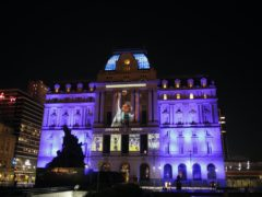 Images of Diego Maradona are projected at the Kirchner Cultural Centre in downtown Buenos Aires (Natacha Pisarenko/AP).