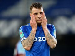 Everton defender Lucas Digne could be out for up to three months (Peter Byrne/PA)