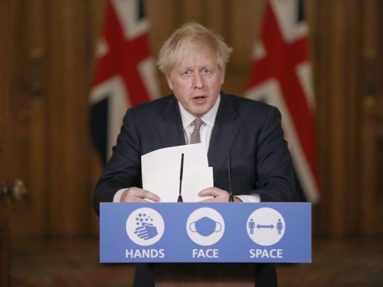Prime Minister Boris Johnson during a media briefing on coronavirus (COVID-19) in Downing Street, London (Jamie Lorriman/Daily Telegraph/PA