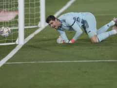 Real Madrid's goalkeeper Thibaut Courtois paid a heavy price for his poor pass (Bernat Armangue/AP)