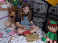 Abbie Paice with the thousands of cards and gifts she has received (Lisah-Jayne Paice)