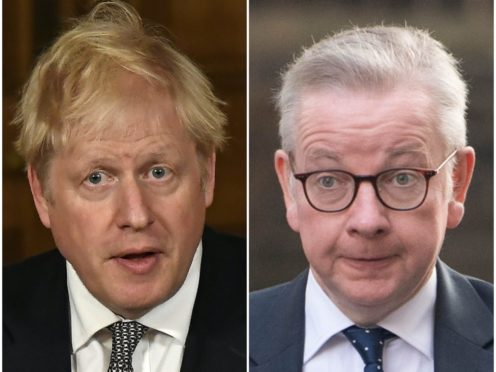 Boris Johnson and Michael Gove have offered different visions for the length of England's lockdown (Alberto Pezzali/ Stefan Rousseau/PA)