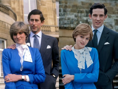 (L) Diana and Charles after announcing their engagement in 1981 and (R) Emma Corrin and Josh O'Connor recreate the moment (Netflix/PA)
