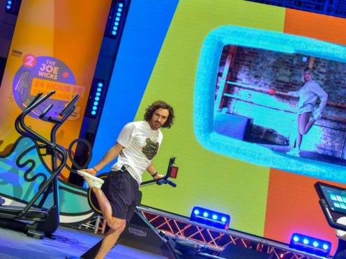 Programme Name: Children In Need 2020 – TX: 13/11/2020 – Episode: n/a (No. n/a) – Picture Shows: During a 24-Hour work-out challenge, Radio 2 / Children In Need. Kimberly Wyatt on screen. Joe Wicks – (C) BBC – Photographer: Sarah Jeynes