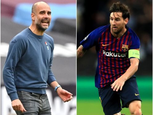 Pep Guardiola and Lionel Messi (PA)