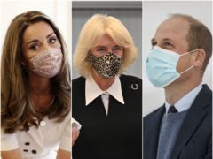 The Duchess of Cambridge, the Duchess of Cornwall and the Duke of Cambridge wearing face coverings (PA)
