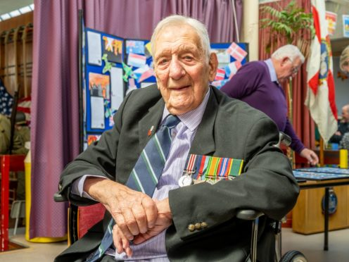 Bob Lingwood, 102, marked Remembrance Sunday at home in Omagh, Co Tyrone (Selwyn Johnston/PA)
