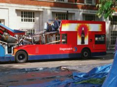 The bus in Tavistock Square, London, after being destroyed by a terrorist bomb (July 7 Inquests)