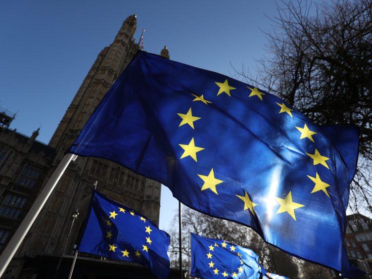 European Union flags outside Westminster (Jonathan Brady/PA)