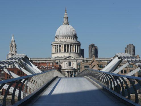 An empty Millennium Bridge in London (Jonathan Brady/PA)