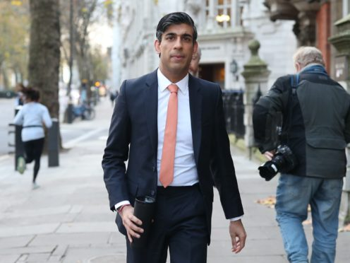 Chancellor Rishi Sunak leaves Millbank broadcasting studios in Westminster (PA)