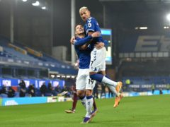 Richarlison, right, and James Rodriguez will not be fit in time for Everton's home game against Manchester City (Peter Powell/PA)