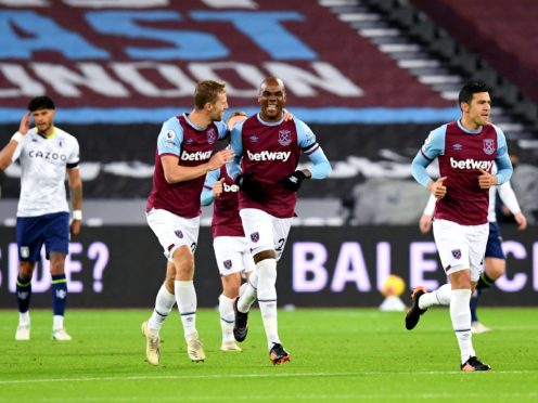 Angelo Ogbonna, centre, opened the scoring for West Ham (Neil Hall/PA)