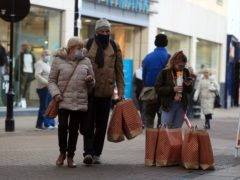 Shoppers in Doncaster after the end of the England-wide lockdown (Mike Egerton/PA)