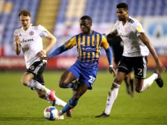 Dan Udoh, centre, hit Shrewsbury's winner (Nick Potts/PA)