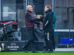 Celtic manager Neil Lennon shakes hands with AC Milan boss Stefano Pioli (Fabrizio Carabelli/PA)