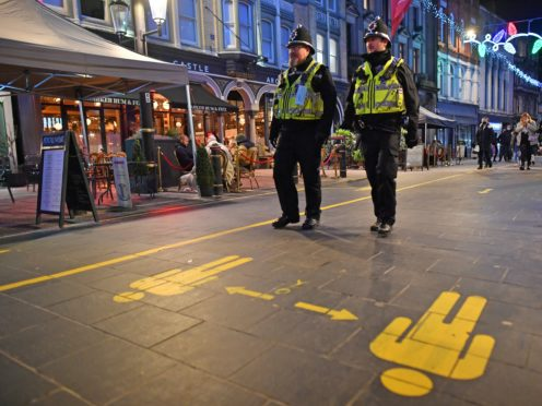 File photo of police on patrol as figures show a rise in incidents where officers have used force. (Ben Birchall/PA)