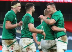 Keith Earls, centre right, celebrates his first try with team-mates (Brian Lawless/PA)