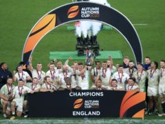 England's Owen Farrell (centre) lifts the Autumn Nations Cup after victory over France at Twickenham (Adam Davy/PA)