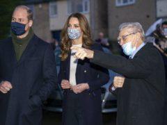 The Duke and Duchess of Cambridge meet Len Gardner, during a visit to Batley (Arthur Edwards/The Sun/PA)