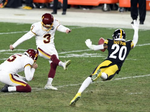 Dustin Hopkins (3) made two 45-yard field goals to win the game for Washington against the Pittsburgh Steelers (Barry Reeger/AP)