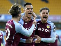 Aston Villa's Anwar El Ghazi (centre) is congratulated by his team-mates after scoring against Wolves (Tim Keeton/PA)