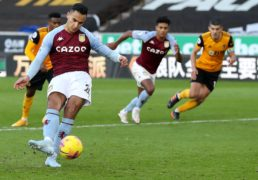 Anwar El Ghazi fires home Villa's injury-time winner against Wolves from the penalty spot (Catherine Ivill/PA Images).