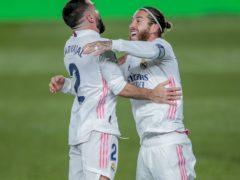 Dani Carvajal and Sergio Ramos celebrate a Real Madrid goal (Bernat Armangue/AP)