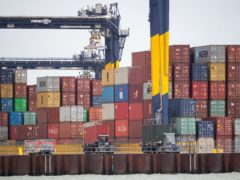 Shipping containers are unloaded from a cargo ship at the Port of Felixstowe in Suffolk (Joe Giddens/PA)