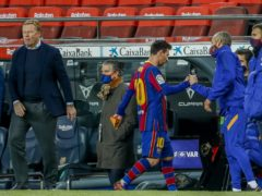 Barcelona boss Ronald Koeman (left) says his side can make up ground and win the LaLiga title (Joan Monfort/AP)