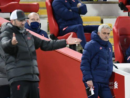 Tottenham Hotspur manager Jose Mourinho has aimed more criticism at Jurgen Klopp and his Liverpool backroom staff (Peter Powell/PA)