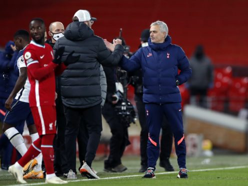 Jurgen Klopp and Jose Mourinho exchanged words on the touchline at the end of Liverpool's match with Tottenham (Clive Brunskill/PA)