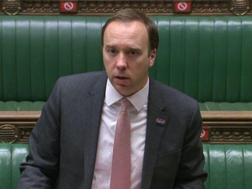 Health Secretary Matt Hancock addresses the House of Commons on Thursday (House of Commons/PA)