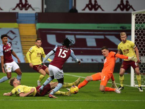 Aston Villa's Bertrand Traore is blocked by Charlie Taylor (Molly Darlington/PA)