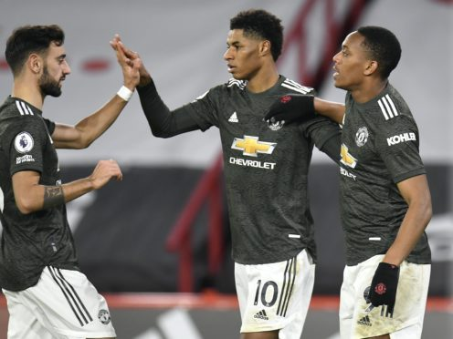 Marcus Rashford (centre) hit a brace for Manchester United (Peter Powell/PA)