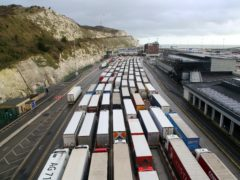 Lorries queue to enter the Port of Dover (Gareth Fuller/PA)