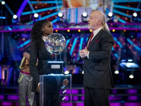 Bill Bailey and Oti Mabuse at the Strictly Come Dancing final (Guy Levy/PA)