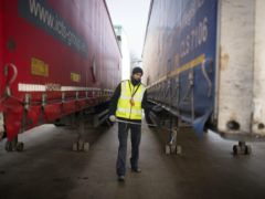 Border Force staff checking a lorry for migrants with CO2 testing technology at the port of Tilbury in Essex (Stefan Rousseau/PA)