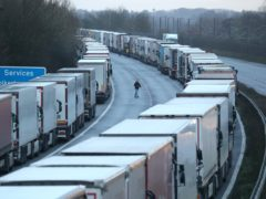 Lorry drivers have been parked overnight on the M20 (Andrew Matthews/PA)