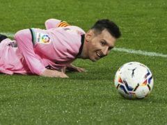 Lionel Messi broke Pele's goalscoring record at a single club when he netted against Real Valladolid (Cesar Manso/AP)