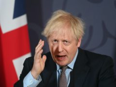 Boris Johnson during a media briefing in Downing Street on the agreement of a post-Brexit trade deal (Paul Grover/Daily Telegraph/PA)