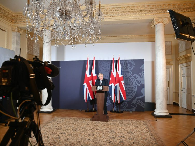 Prime Minister Boris Johnson during a media briefing in Downing Street (Paul Grover/Daily Telegraph/PA)