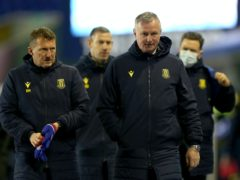 Michael O'Neill, front right, saw his team held by Coventry (Barry Coombs/PA)