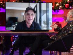 Graham Norton interviews Tom Hanks remotely during the filming for the Graham Norton Show (Matt Crossick/PA)
