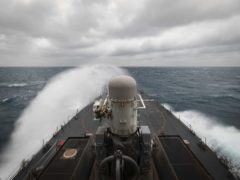 Guided-missile destroyer USS John S McCain in the Taiwan Strait on Wednesday (US Navy/AP)