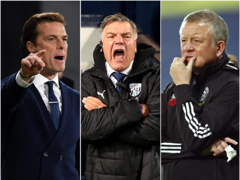 Scott Parker, Sam Allardyce and Chris Wilder, l-r, must steer their sides away from the Christmas relegation zone ( Mike Hewitt/ Lindsey Parnaby/Andrew Boyers/PA)