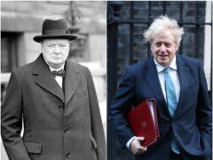 Sir Winston Churchill and Boris Johnson (Yui Mok/PA)